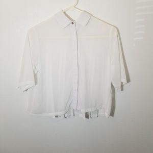 Miami  White Flowy Cropped Button Down Blouse